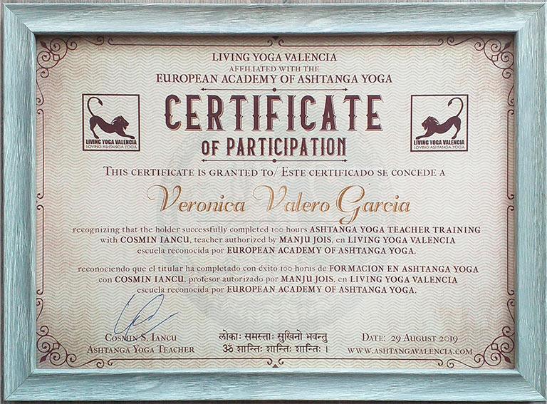 certificado asthanga